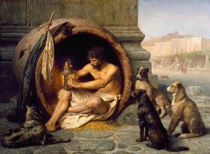 Diogenes z Synopy siedzący w swojej beczce  aut. Jean-Léon Gérôme (1860)